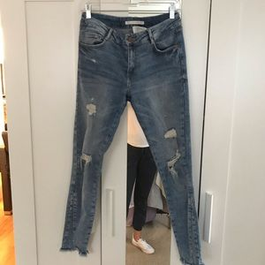 Zara destroyed jeans with ripped hem